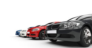 Row Of Cars. Shot on white background, ideal for digital and print design stock illustration