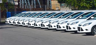 Row of cars. White cars are lined up in the parking lot in one line Royalty Free Stock Photography