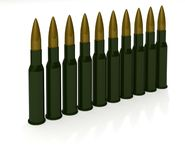 Row cartridges for machine gun Stock Photo