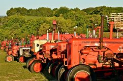 Row of Case Tractors. ROLLAG, MINNESOTA, Sept 1, 2013: The row of Case tractors were on display at the West Central Steam Threshers Reunion over the Labor Day Royalty Free Stock Photography