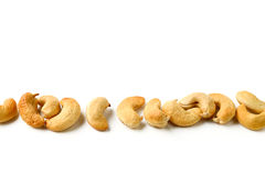 Row of cashews nut stock photography