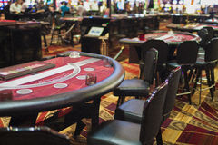 Row Casino Gaming Tables in Las Vegas Casino Hotel's Hall Stock Image