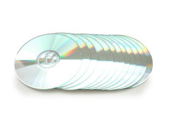 Row of CD's isolated. On white stock photography