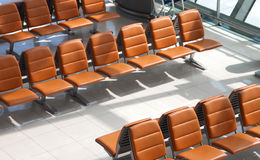 Row of chair at airport. Stock Photo
