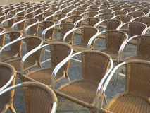Row of chair seats in open air theater Stock Photos