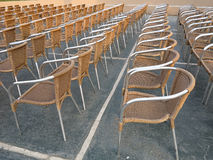Row of chair seats in open air theater Royalty Free Stock Photos