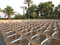 Row of chair seats in open air theater Stock Photo