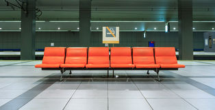 Row of chair in the underground railways station, Japan Royalty Free Stock Photography