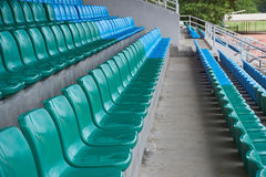 Row of chairs in arena. Stock Photo