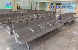 Row of chairs in Barcelona airport Stock Images