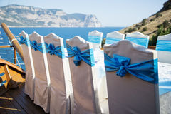 Row of chairs decorated for a part event Stock Image
