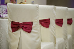 Row of chairs draped in white with red bow ties on the back. Indoor shot with artificial light Royalty Free Stock Photo