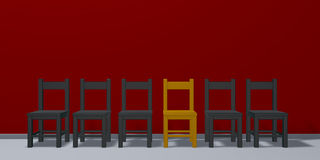 Row of chairs, one in gold Royalty Free Stock Image