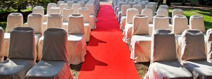 Row of chairs for an  outdoor wedding Royalty Free Stock Photos