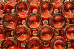 A row of champagne bottles - Wine cellar Stock Photos