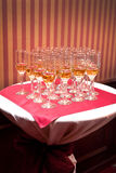 A row of champagne glasses royalty free stock images