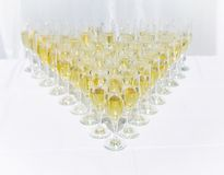 Row of champagne glasses on a table Royalty Free Stock Photography