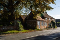 A row of charming cottages in the village of Great Brickhill Royalty Free Stock Photo