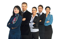 Row of cheerful business people team Royalty Free Stock Images