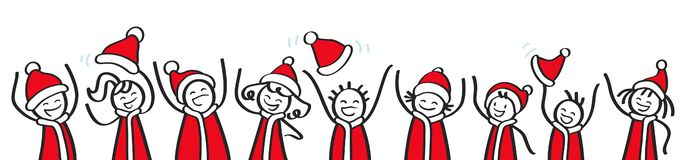 Row of cheering stick people wearing Santa Claus costumes, Christmas banner, happy kids, men and women, stick figures. Row of cheering stick people wearing Santa vector illustration