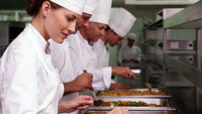 Row of chefs preparing food in serving trays. In a commercial kitchen stock video