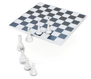 Row of chess pieces  on a white background. 3d rendering Royalty Free Stock Photo