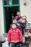 A row of children in the china countryside,Asia Stock Photography