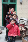 A row of children in the china countryside,Asia Stock Photos