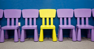 Row of children's chairs Royalty Free Stock Photos