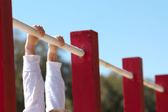 Row of Chin up bars Royalty Free Stock Image