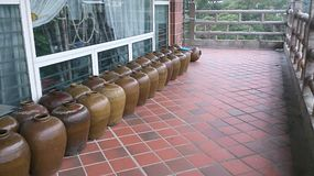 Row of China pots Royalty Free Stock Photo