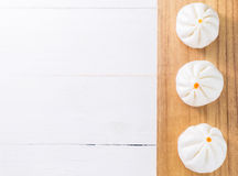 Row of Chinese Bun on tray Stock Photos