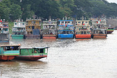 Row of Chinese cargo boats Stock Photography