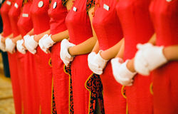 Row of Chinese waitresses Stock Images