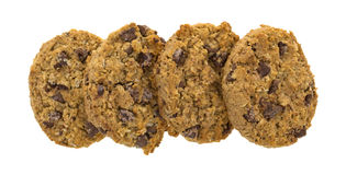 Row of chocolate chip oatmeal cookies Royalty Free Stock Image