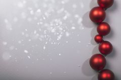 Row of christmas balls with snowflakes Stock Image