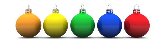 Row of Christmas baubles Royalty Free Stock Photo