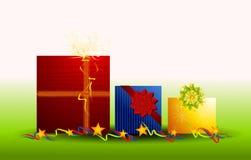 Row of Christmas Gifts Ribbon Bows Stock Photo