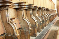 Row of church pews Royalty Free Stock Image
