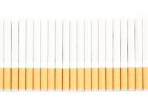 Row of cigarettes isolated Royalty Free Stock Image