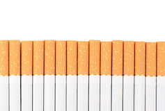 Row of cigarettes on white background Royalty Free Stock Photos
