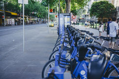 Row of city bicycles in Melbourne CBD Royalty Free Stock Photo