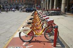 Row of city bike Royalty Free Stock Photography