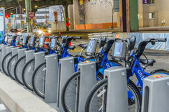 Row of City Bikes for Hire in New York Royalty Free Stock Photos