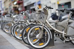 Row of city bikes for rent Royalty Free Stock Photo