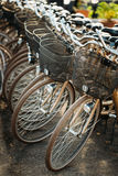 Row of city parked bicycles bikes for rent on Royalty Free Stock Image