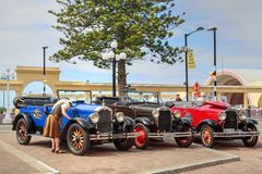 Vintage cars for hire or for tours, Napier, New Zealand royalty free stock photo