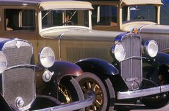 A row of classic cars for the movies in Burbank, California Royalty Free Stock Images