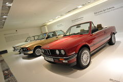 Row of classic to modern BMW 3 series on display in BMW Museum Stock Photo