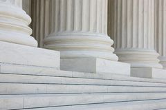 Row of classical columns with steps. US supreme court building in Washington DC Royalty Free Stock Photography